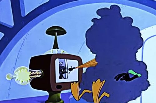 One time Marvin even shot Daffy through a teevee. I mean, damn.